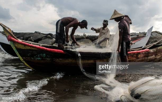 Traditional fishing activities were disrupted by waters polluted waste oil Lhokseumawe in Lhokseumawe Aceh province Indonesia on February 1 2017 The...