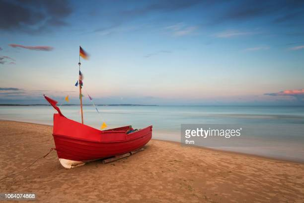 Traditional fishing boat on the beach of Usedom, Germany
