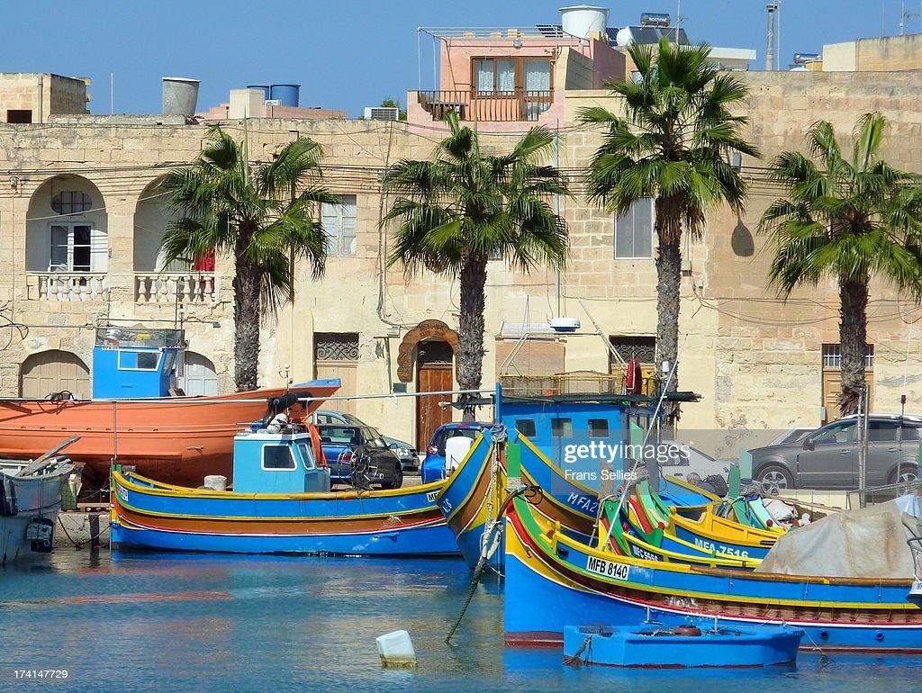In the harbour of Marsaxlokk, Malta : ニュース写真