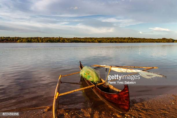 traditional fishing canoe - dugout canoe stock photos and pictures