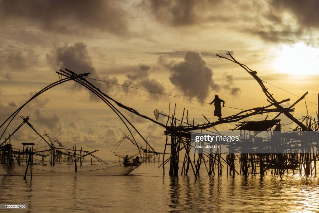 Traditional fishing nets made from bamboo and wood over golden sunrise at Phatthalung, Thailand. : Stock Photo