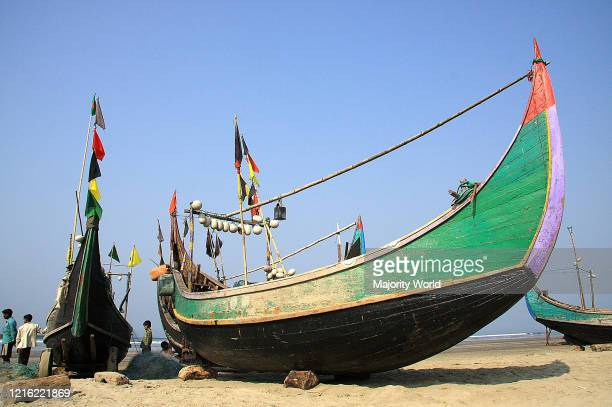 Traditional fising boats or Sampans on the beach of Cox's Bazar Chittagong Bangladesh