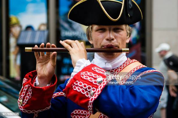 traditional flautist, montreal, canada - tricornered hat stock photos and pictures