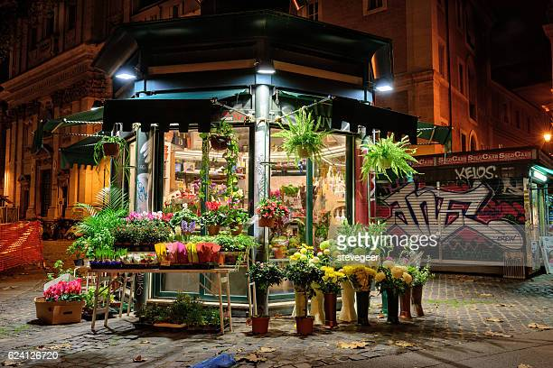 Traditional flower stand in Rome