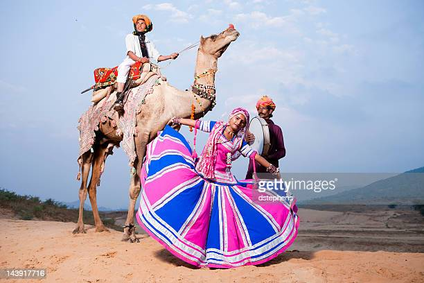 traditional folk dancers in india - rajasthan stock pictures, royalty-free photos & images