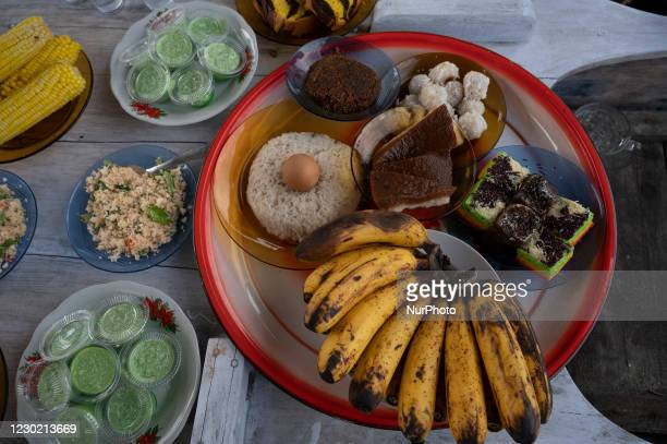 Traditional food served at the new boat salvation ritual at the new boat salvation ritual in Pantoloan Boya Village, Palu City, Central Sulawesi...