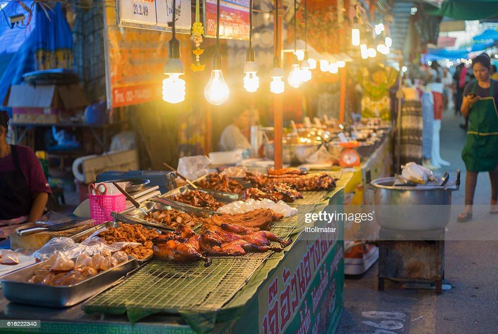 traditional food shop at thai market walking street : Stock Photo