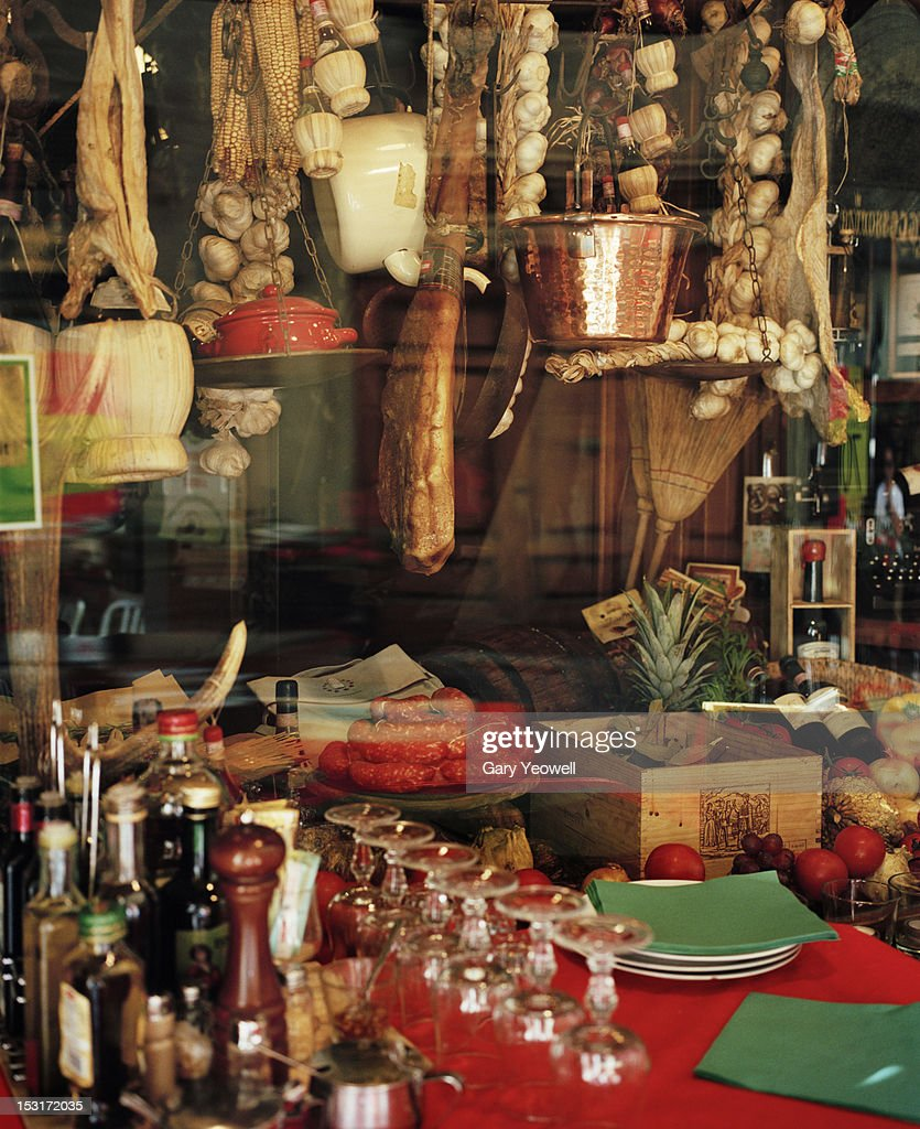 Traditional food shop window display : Stock Photo