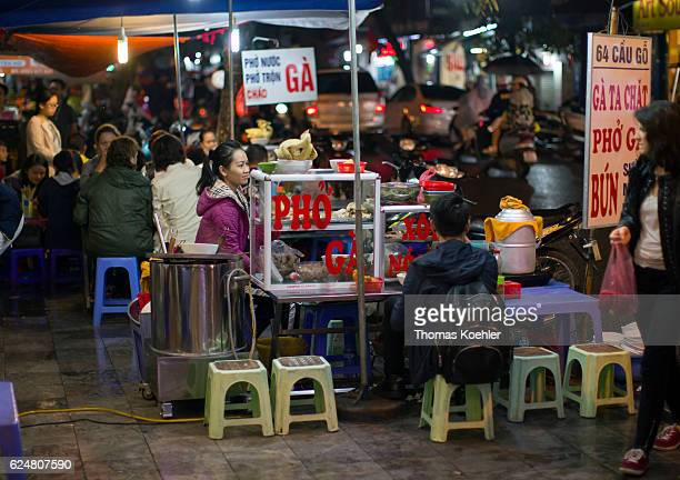 Traditional food stalls on a street in Hanoi on October 30 2016 in Hanoi Vietnam