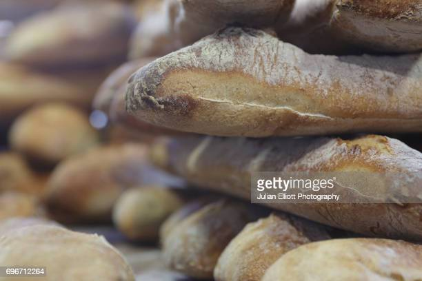 traditional french bread on sale. - chedigny photos et images de collection
