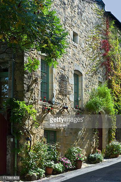 Traditional French house in quaint town of Castelmoron d'Albret in Bordeaux region Gironde France