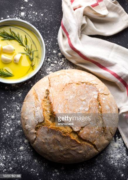 Traditional Fresh bread, garlic and olive oil