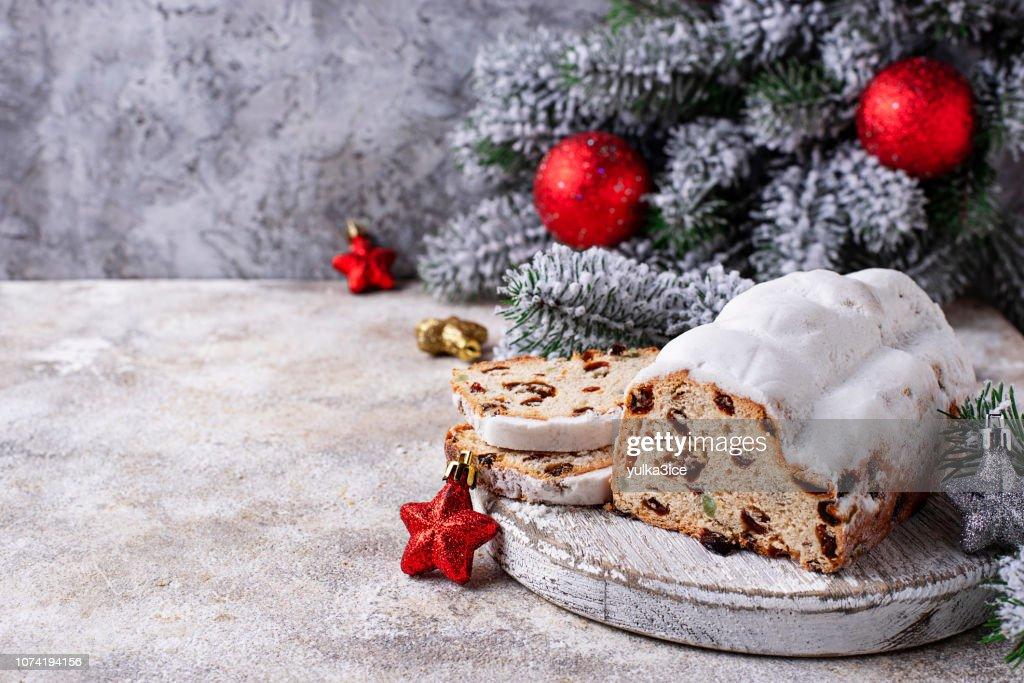 Traditional German Christmas cake stollen : Stock Photo