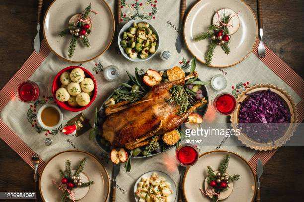 traditional german christmas dinner - evening meal stock pictures, royalty-free photos & images