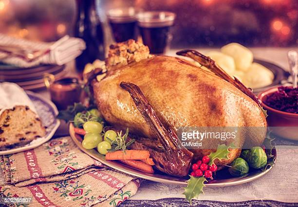 Traditionelle deutsche holiday Goose Abendessen mit Klößen und Red Cabbage