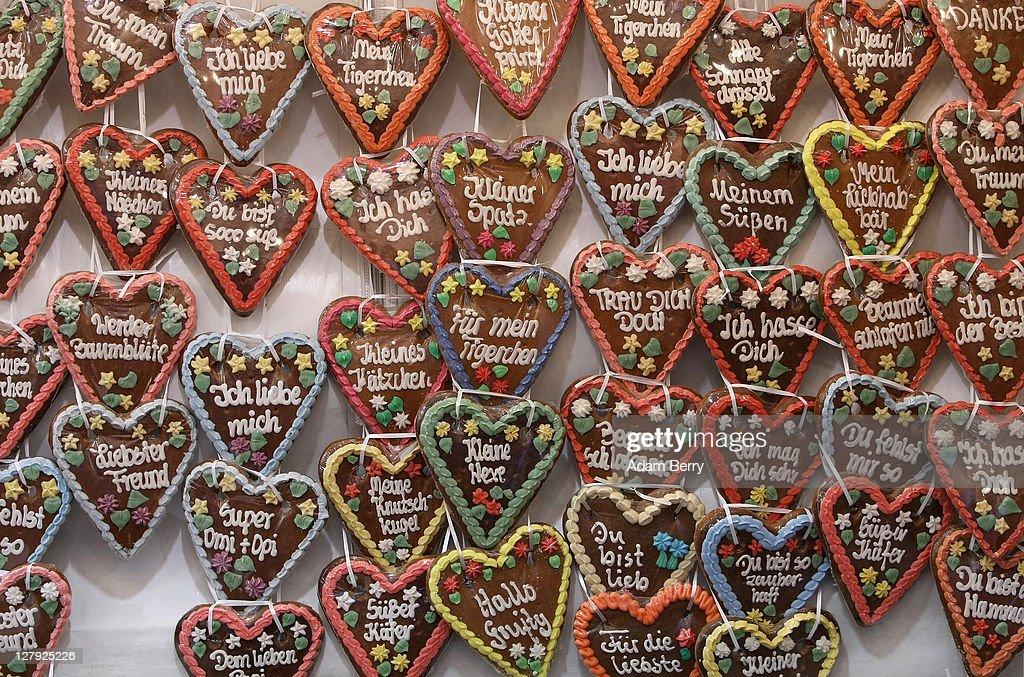 Traditional German Lebkuchen Cookies Hang For Sale During An Outdoor