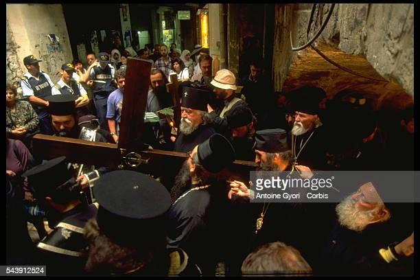Traditional Good Friday procession of Orthodox Christians on Via Dolorosa