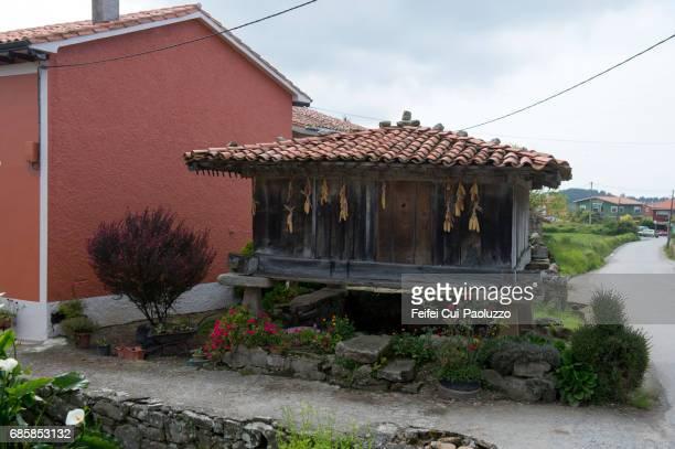 A traditional granary in Cape Lastres, Asturias region, Spain
