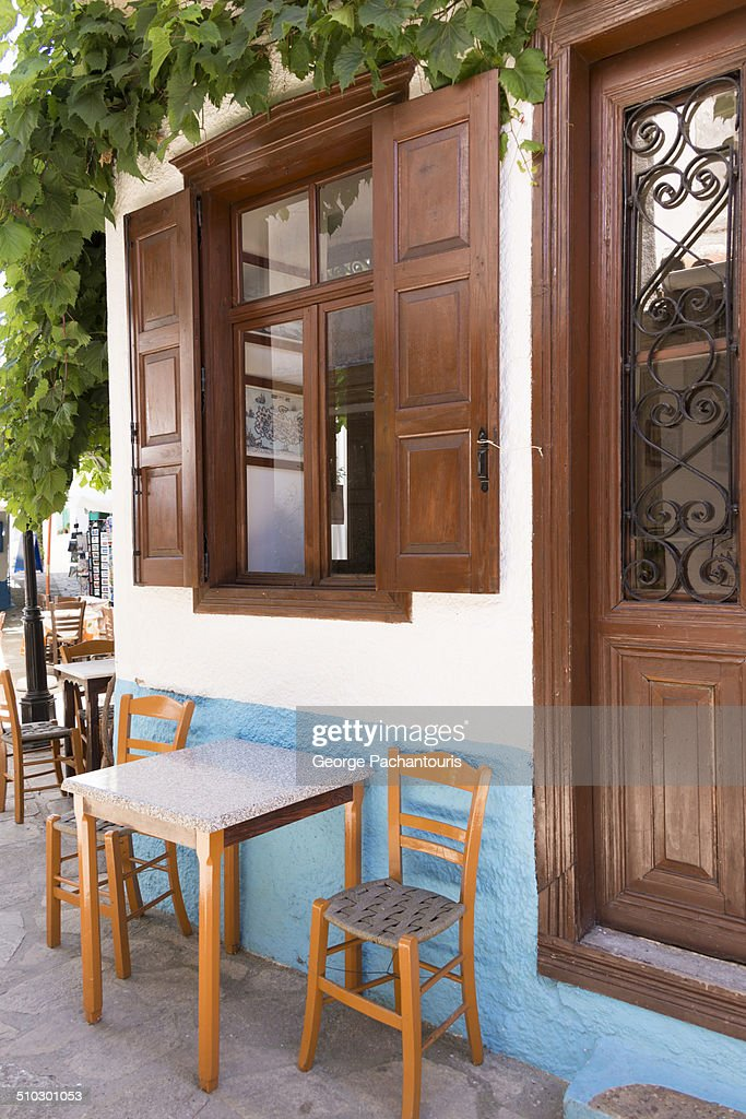 Traditional Greek cafe place : Stock Photo