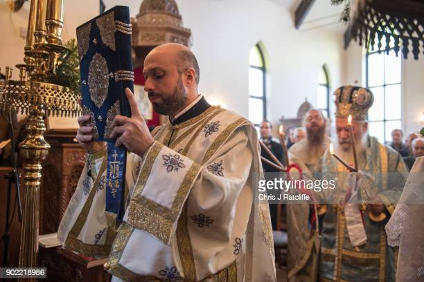 A traditional Greek Orthodox service at the Church of St Michael the Archangel for the Feast of the Epiphany on January 7 2018 in Margate England...