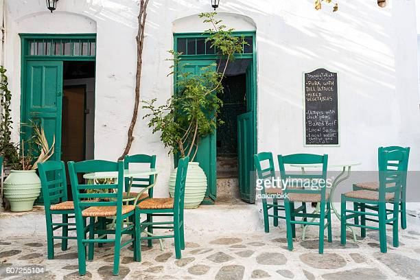 Traditional Greek restaurant terrace in Cyclades islands