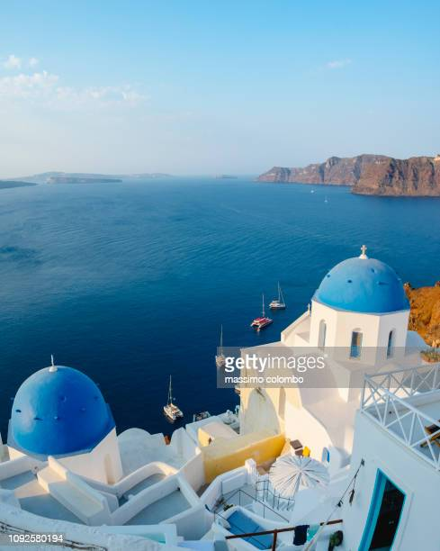 traditional greek village, aerial view, santorini - greece stock pictures, royalty-free photos & images