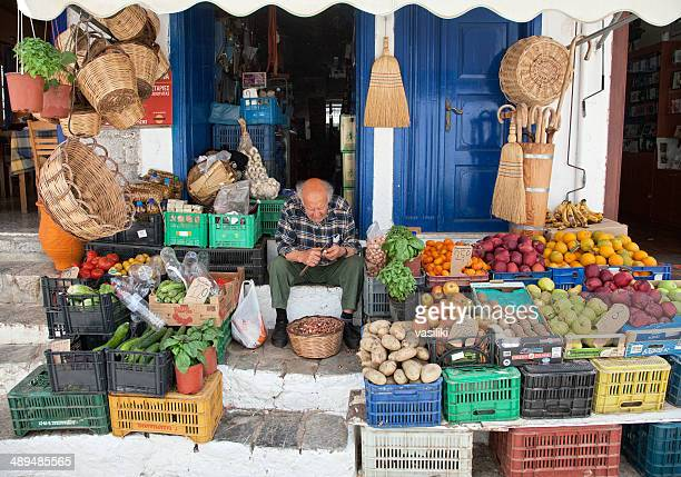 traditional grocery store at hydra island - hydra greece stock photos and pictures