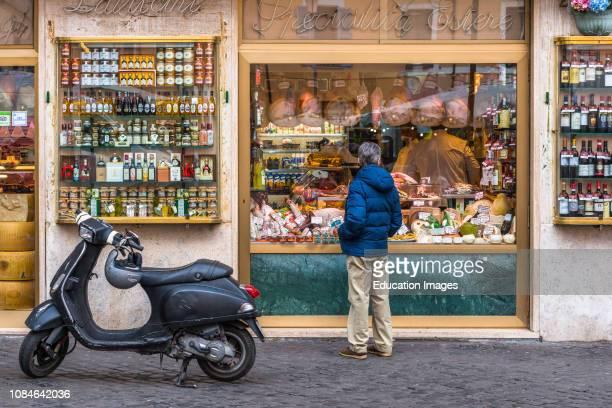 Traditional Grocery storefront at Campo de Fiori square, Rome, Lazio, Italy, Europe.