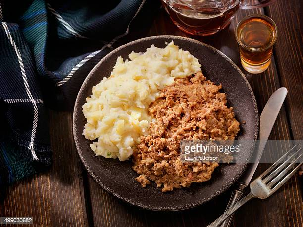 Traditional Haggis and Neeps with Whiskey and a beer