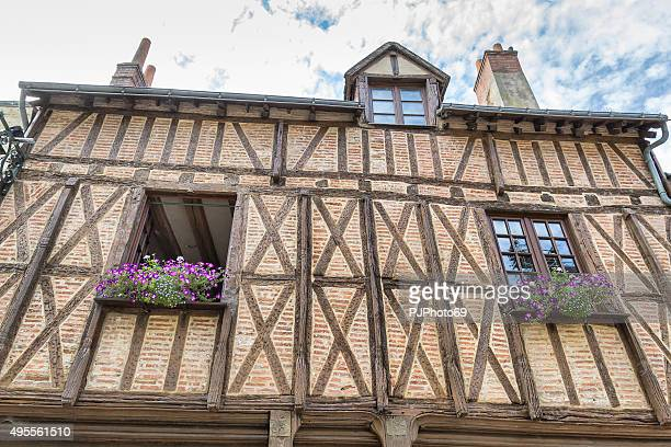 traditional half-timbered house in amboise - france - pjphoto69 stock pictures, royalty-free photos & images