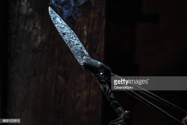 Traditional Hand Made Knife In Blacksmith Shop