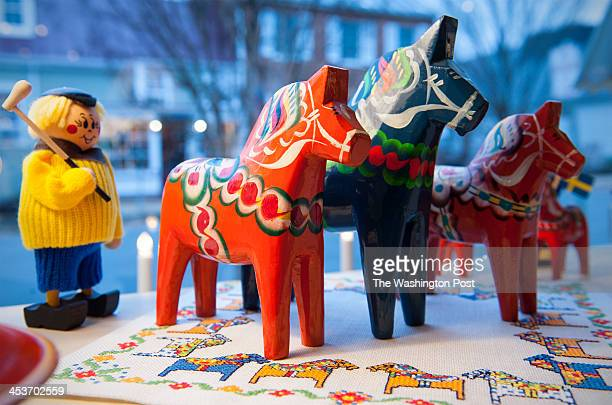 Traditional hand painted wooden figurines are displayed at Skandinavia on Madison Street Thursday November 21 2013 in Middleburg VA