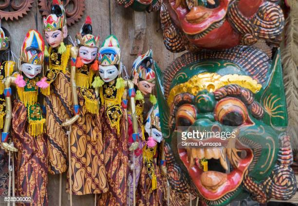 Traditional handicraft puppets souvenir in Bali Island, Indonesia