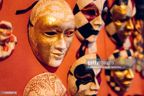 traditional handmade carnival masks, venice - tuesday stock pictures, royalty-free photos & images