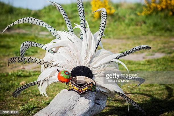 Traditional headdress on wooden log
