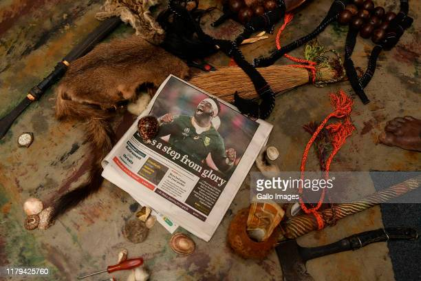 Traditional healer July Shrinda throwing some bones predicting the Springboks outcome of the Rugby World Cup 2019 final match between England and...
