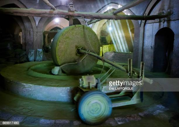 Traditional henna mill with a giant stone on October 23 2015 in Yazd Iran