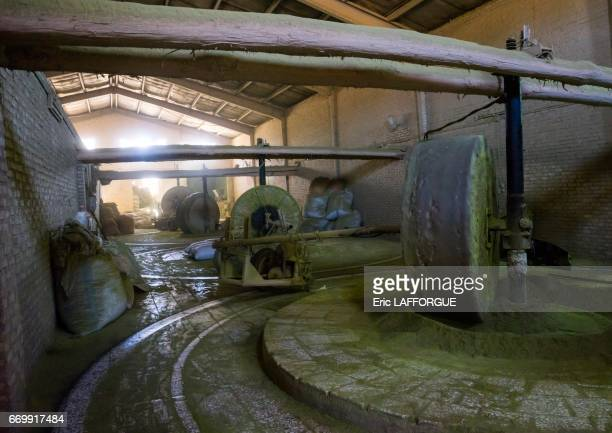 Traditional henna mill with giant stone on October 23 2015 in Yazd Iran