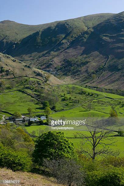traditional hill farm nestled in the troutbeck valley, in the scenic cumbrian lake district - remote location stock pictures, royalty-free photos & images