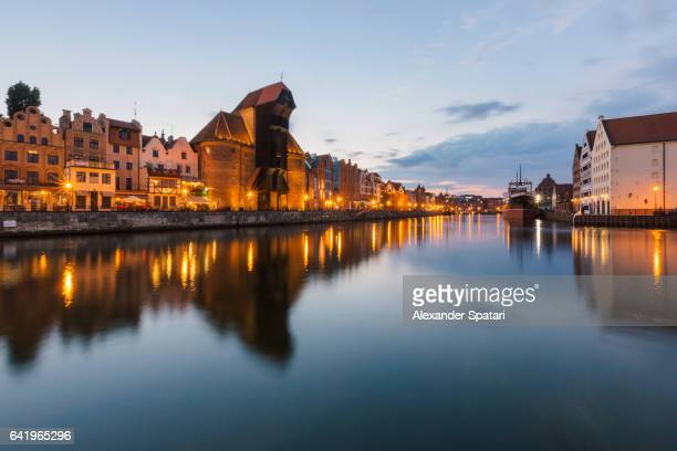 Traditional historic houses on Motlawa river waterfront (Dlugie Pobrzeze) in Gdansk, Poland