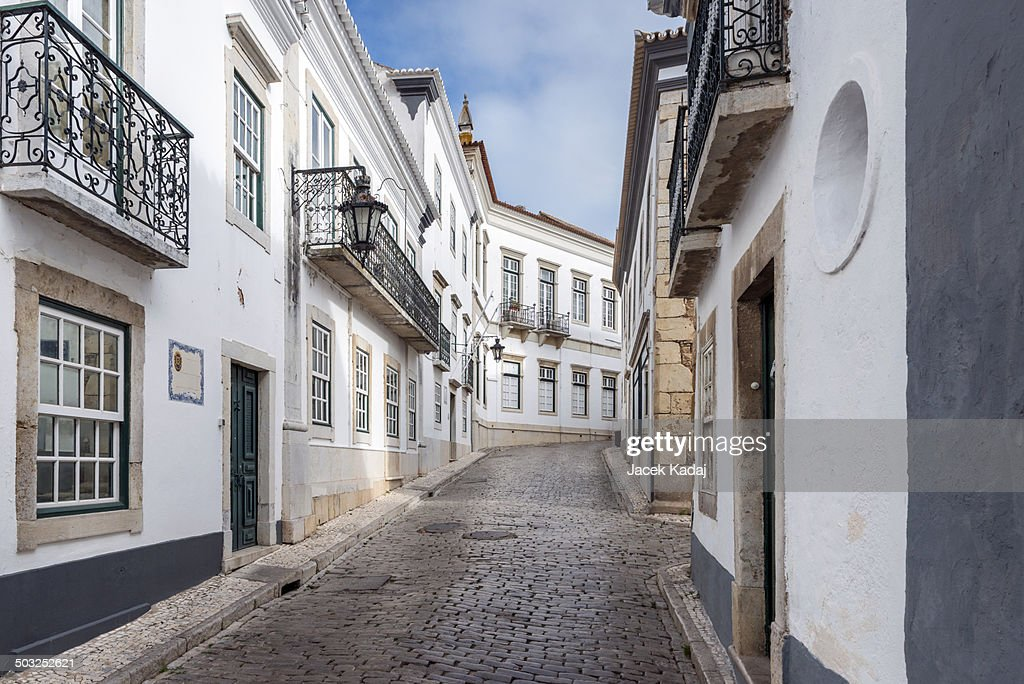 Traditional historical streets of Faro in Portugal : Stock Photo
