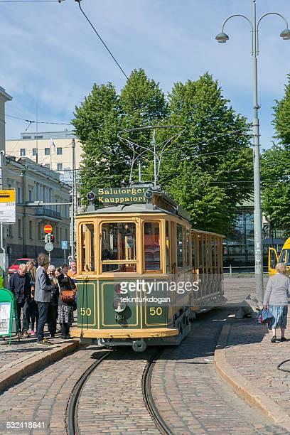 traditional historical tram at helsinki finland