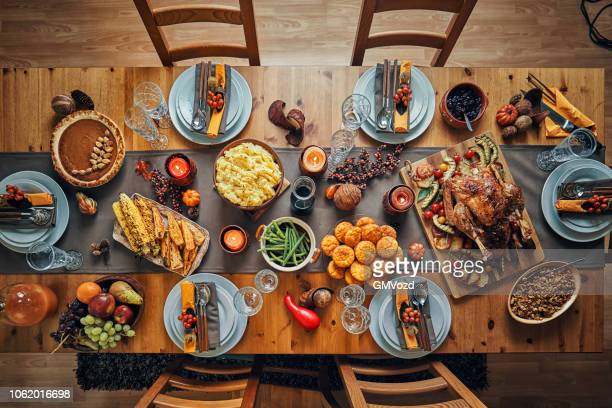 traditional holiday stuffed turkey dinner - thanksgiving stock pictures, royalty-free photos & images