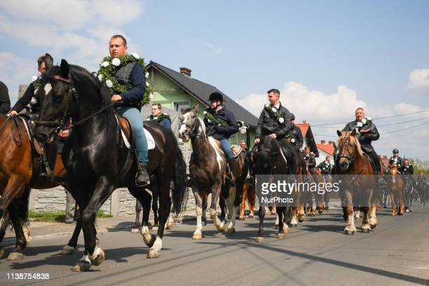 A traditional horse riding procession on Easter Monday in Ostropa district of Gliwice Poland 22 April 2019 During the procession the participants...