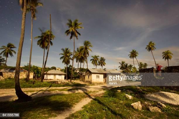 Traditional house from Zanzibar village at night at full moon light