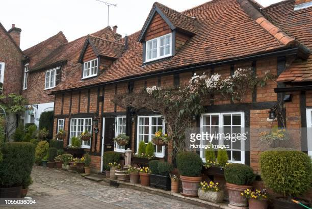 Traditional house front in a cul-de-sac in the market town of Amersham, Chilterns, Buckinghamshire, England. Artist Ethel Davies.