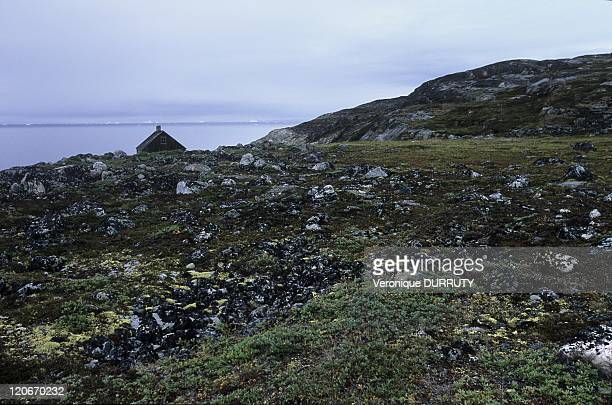 Traditional house in the tundra in Greenland Near Ilimanaq settlement