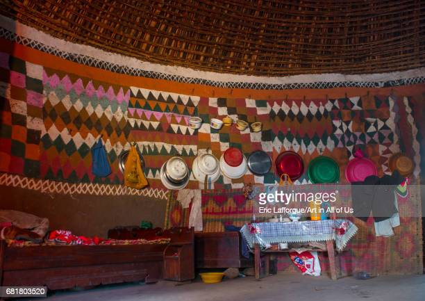 Traditional house with decorated and painted walls Kembata Alaba Kuito Ethiopia on March 8 2016 in Alaba Kuito Ethiopia