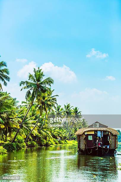 traditional houseboat on kerala backwaters - kerala stock pictures, royalty-free photos & images