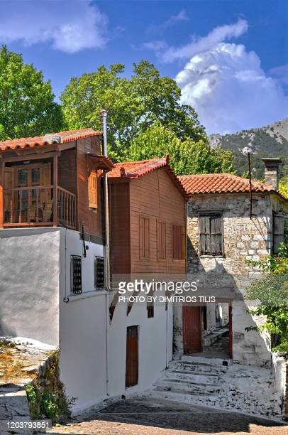 traditional houses at agiasos - dimitrios tilis stock pictures, royalty-free photos & images